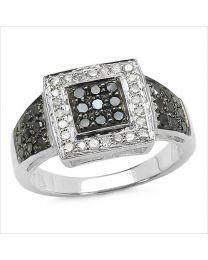 Zilveren ring met zwarte en witte Diamant