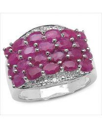 Zilveren ring met Robijn en Diamant