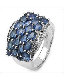 Zilveren ring met Saffier en Diamant