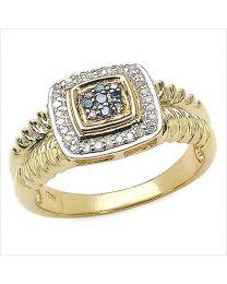 Zilveren vergulde ring met blauwe en witte Diamant