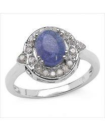 Zilveren ring met Tanzaniet en Diamant