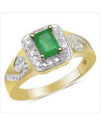 Zilveren vergulde ring met Smaragd en Diamant