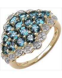 Zilveren vergulde ring met Topaas
