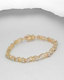 Zilveren vergulde armband met Zirkonia's