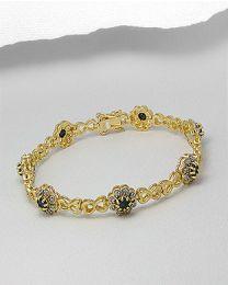 Zilveren vergulde armband met Diamant en Edelstenen