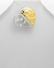 Zilveren vergulde hanger met Zirkonia's