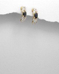 Zilveren vergulde oorbellen met Saffier