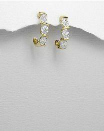 Zilveren vergulde oorbellen met diamant