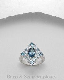 Vergulde ring met Diamant en Edelsteen