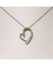 Zilveren collier met diamant en Opaal