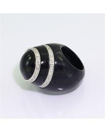 Zilveren design ring met zirkonia's
