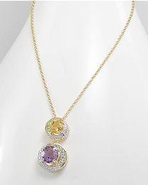 Vergulde zilveren collier met Edelsteen en Diamant