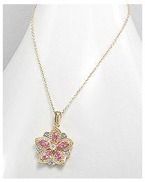 Zilveren vergulde collier met Diamant en Edelstenen