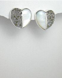 Zilveren oorbellen met Schelp en Marcasiet