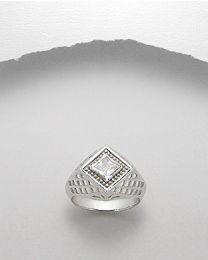 Zilveren heren ring / zegel ring