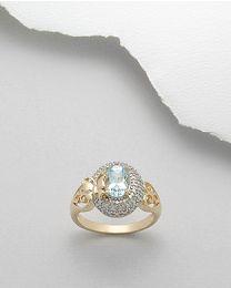Vergulde zilveren ring met Topaas