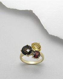 Vergulde zilveren ring met edelstenen
