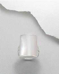 Zilveren ring bezet met schelp