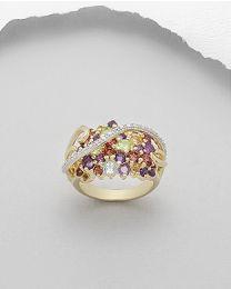 Vergulde zilveren ring met edelstenen en diamant