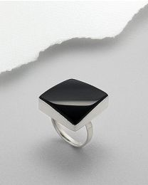 Zilveren ring met zwarte Agaat
