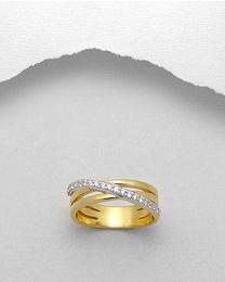 Vergulde zilveren ring met zirkonia's