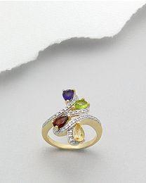 Vergulde zilveren ring met Diamant en edelstenen