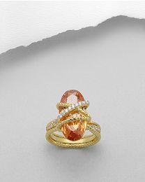 Vergulde zilveren ring met Zirkonia