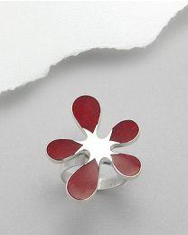 Zilveren ring met Koraal