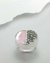 Zilveren ring met Schelp en Marcasiet